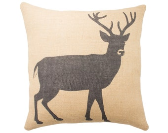 Deer Pillow, Burlap Pillow, Cushion, Rustic, Decorative Throw Pillow, Log Cabin, Woodlands, Accent Pillow, Black and Beige