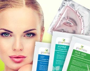 Collagen 3 Pack Anti-ageing Face Mask Gel Sheet Combo: Lily Collagen Mask, Aloe Vera Collagen Mask, Jasmene Collagen Mask