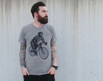 Chimpanzee on a Bicycle- Mens T Shirt, Unisex Tee, Tri Blend Tee, Handmade graphic tee, sizes xs-xxl