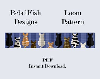 Loom Pattern. PDF. I Love Cats. Bracelet. Bookmark. Beading.