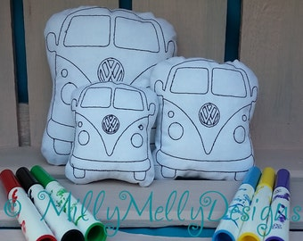 VW Van - coloring in soft toy