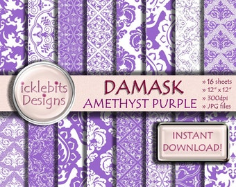 "Purple Damask Digital Paper Pack, ""AMETHYST PURPLE DAMASK"" For Scrapbooking, purple damask digital paper, lace digital paper, Design #44"