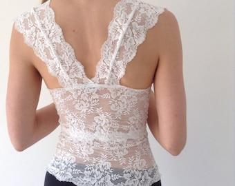Lace top, Crop Top, Bridal Top, Lingerie, Lace lingerie, Bridal, Gift to her, Bridal lingerie, Sheer Lingerie, Floral, Lace Underwear, White