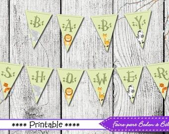 Baby Shower Banner - Jungle printable  -  Jungle baby shower - Jungle - Digital imprimable - Instant download - printable banner