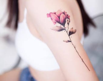 Classical red rose peony flower temporary tattoo tattoo watercolor pink flower temporary tattoo tattoo sticker mightylinksfo