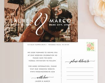All Together Photo Save the Date Postcard / Magnet / Flat Card - Save the Date Magnet, Photo Wedding Magnet, Wedding Save the Date