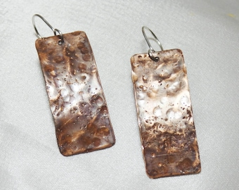 Textured Copper Rectangle Earrings