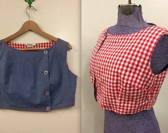 Vintage 1950s Rare Farmers Daughter Crop Top Button Up Blouse- sz Small - Jo Matthews