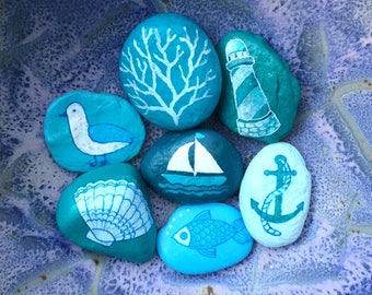 Beach-themed painted rocks, set of seven