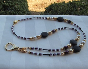 Gold Beaded ID Badge Lanyard Necklace Gold Black Purple White ID Badge Holder