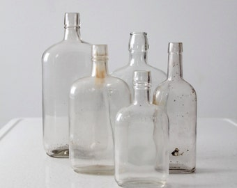 antique glass bottles, large apothecary bottle collection
