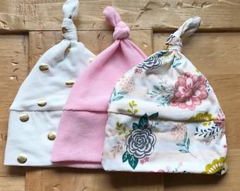 Baby Girl Hat Set, Hats, Polka Dot, Gold, Floral, Pink