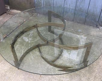 Sculptural Brass Finish Vintage Coffee Table