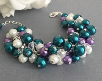 Purple and Teal Bracelet Chunky Bracelet Bridesmaids Bracelet Maid of Honor Gift Wedding 2016 Teal and Lavender Bracelet