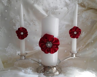 Wedding Unity Candle set with handmade 5 petal Roses in Apple Red and Rhinestone Mesh Trim, Candle Holder, Stand Included