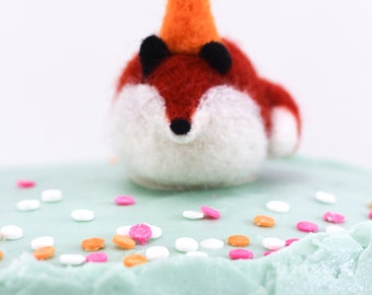Woolly Poly Birthday Fox, Cake topper, Birthday Decoration