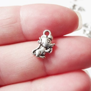 """10 Mouse """"Fairy Tale"""" Charms (double sided puffed) 12x7x2mm"""