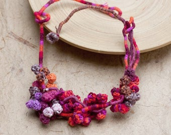 Fiber necklace in orange red Crochet statement jewelry, OOAK