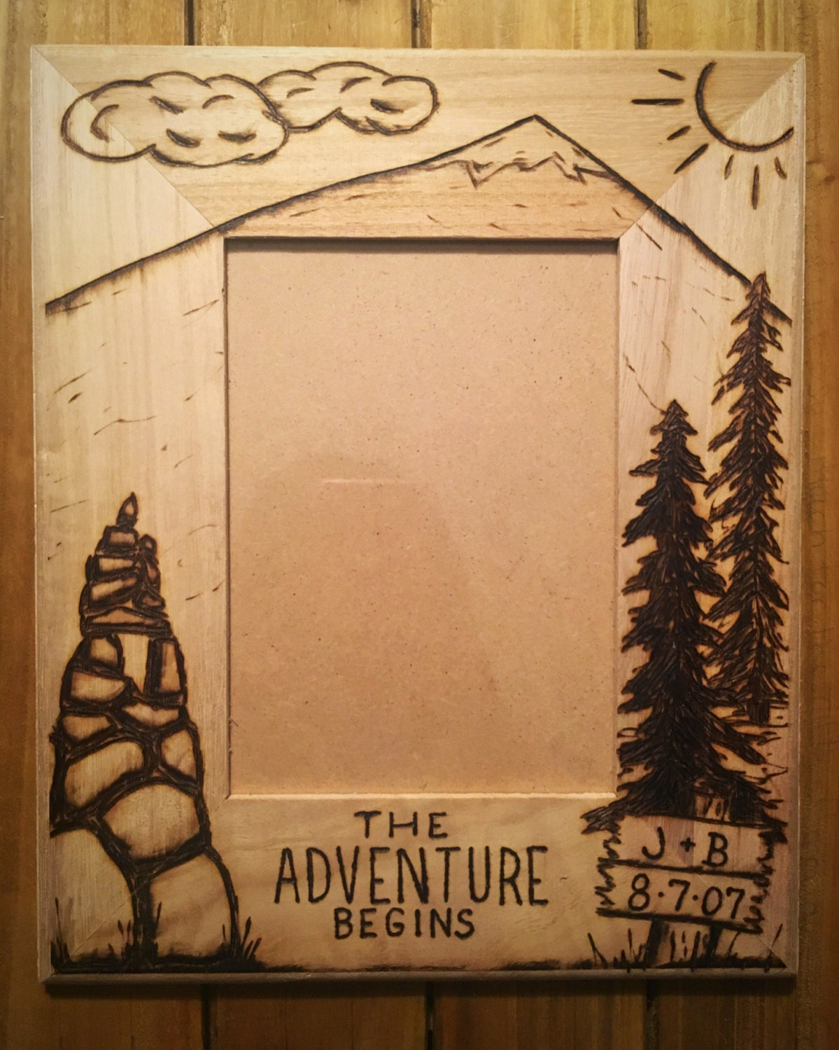 Adventure begins tree picture frame wood burning art heart 2850 jeuxipadfo Image collections