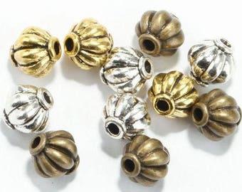 BULK 40 pieces Antique Gold/Silver/Bronze spacer Lantern/Pumpkin beads ,8 mm *8 mm for Necklace and Bracelet Making