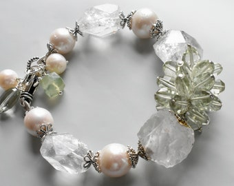 Green Amethyst,Pearls, Rhinestones with Silver findings bracelet