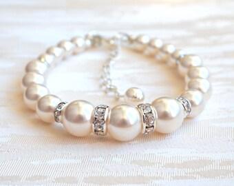 Wedding Bracelet Bridal Pearl Bracelet Ivory Wedding Bracelet Bridesmaid Bracelet Bridesmaid Gifts Ideas Pearl Wedding Jewelry New A044