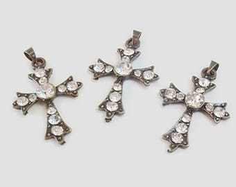 3 Antique Bronze Cross Pendants, Jewelry Making Supply, Finding Supply,  Clear Rhinestones, bail
