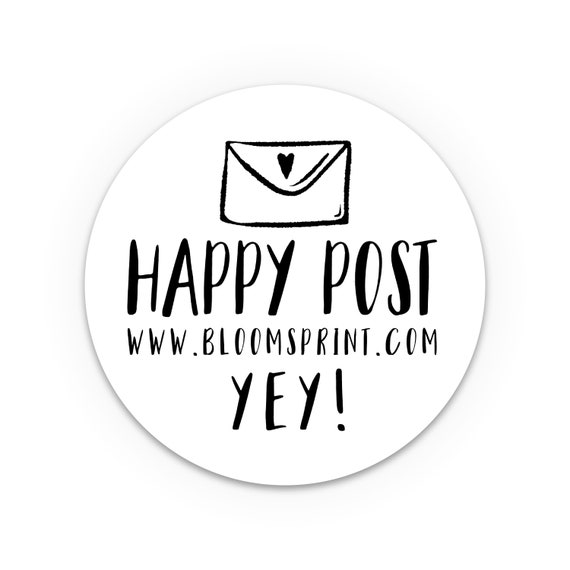 Happy post stickers, Personalised Stickers, Labels for handmade items, Round packaging stickers set, Small business labels, Custom stickers