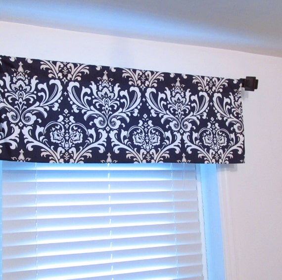 Straight Valance Navy Blue Damask Curtain Bedroom/ Living