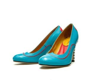 Womens handmade shoes/ Blue shoes/ High heel leather pump/ Wedding shoes/ Designer shoes/ Heels/ FREE SHIPPING/ Stripes/ Pumps/ Unique shoes