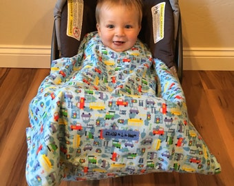 Car Seat Blanket, infant carrier blanket, Vehicles Snug L Bee, baby carrier blanket, car seat cover, baby accessory, baby blanket, winter