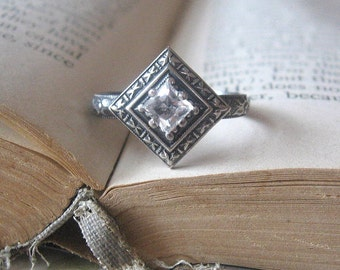 Princess Cut Edwardian Engagement Promise Ring with Oxidized Square White Topaz Gemstone Sterling Silver