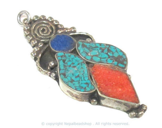 1 pendant - Large ethnic design Tibetan pendant with mosaic turquoise coral lapis  inlay   - PM574A