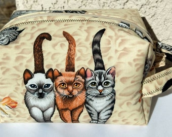 Funny cat print bag, makeup bag, cosmetic bag, storage bag, toiletry bag