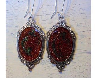 Earrings cabochon galaxy orange influence medieval