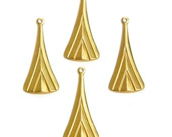 1 Loop Raw Brass Long Layered V Charm Pendant (6) mtl391B