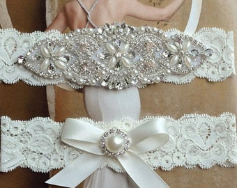 ON SALE Wedding Garter, Rhinestone and Crystal Garter Set, Ivory Lace Bridal Garter, Pearl Wedding Garter Set, Garter, Rhinestone Applique G