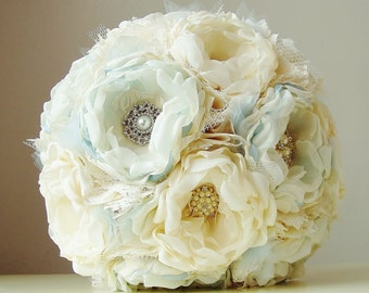 Fabric Flower Bouquet,  Vintage Wedding Bouquet,  Brooch Bouquet,  Handmade Bridal Bouquet - this is a 50% DEPOSIT ONLY