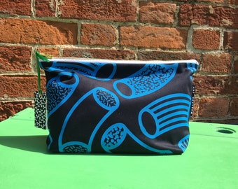 MEDIUM Screen Printed Handmade in England Wash Bag Zip Pouch Abstract Design Navy and Blue