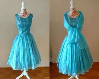 vintage 1950s blue party dress with matching wrap