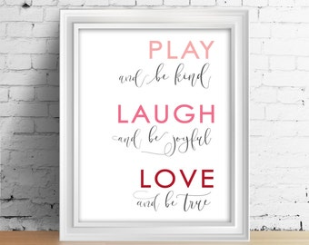 Play Laugh Love Quotes Wall Art Bedroom Decor Inspirational Love Print Positive Quote Blue Ombre Typography Print Live Laugh Love Be Kind