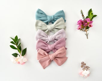 BUNDLE - 5 Solid Colored Double Gauze Large Knotted Bows / Attached to Soft, Stretchy Nylon Headbands or Alligator Clips