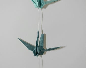 Pastel blue cranes origami Garland