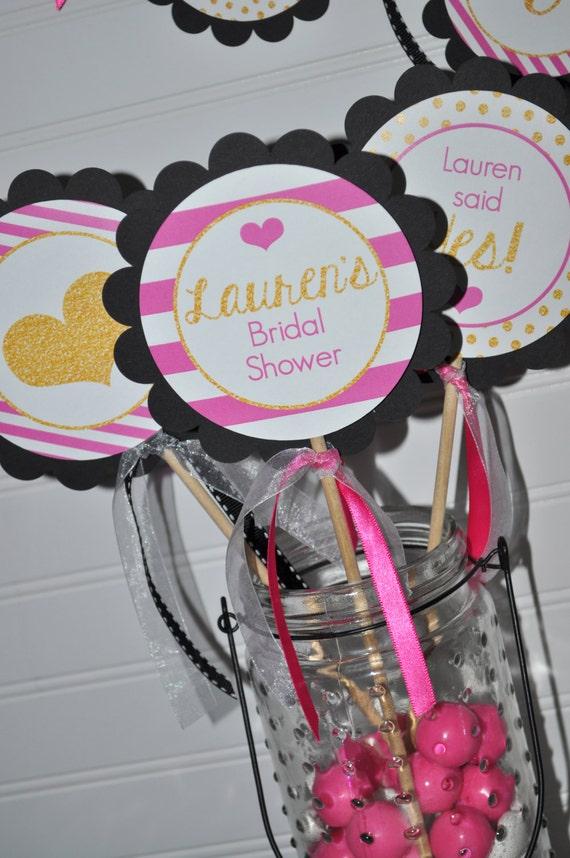 Bridal shower centerpiece sticks bachelorette party wedding