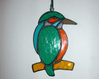 Stained glass Kingfisher suncatcher,Bird suncatcher,カワセミ,翡翠
