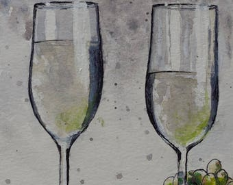 White WINE Glasses and Grapes Still Life * ORIGINAL PAINTING * Wine Bar Art * Kitchen Wall Art * Original Watercolor Painting on Paper