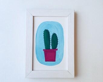 April Cactus - acrylic artwork L10 x 15 cm