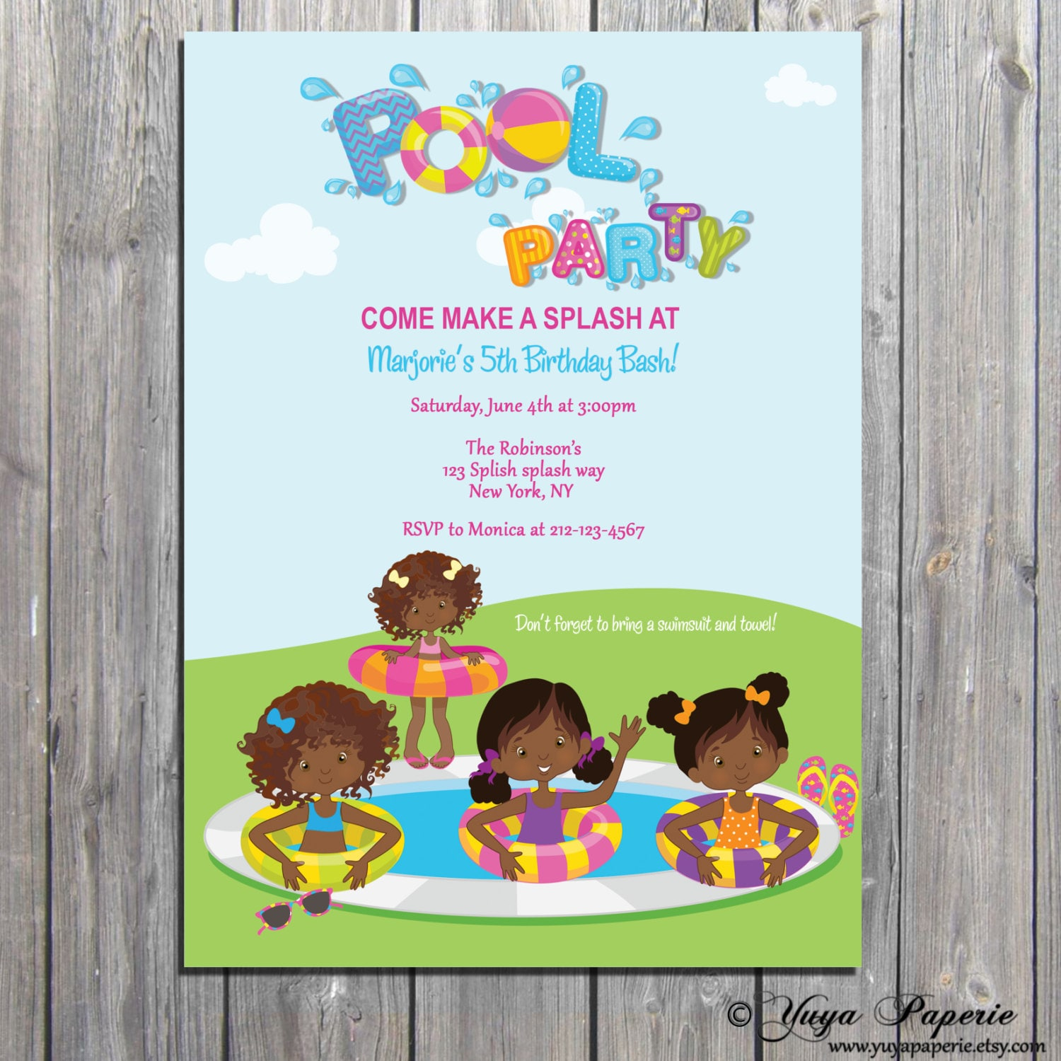 Pool Party Invitation, Summer party Invite, African America pool ...