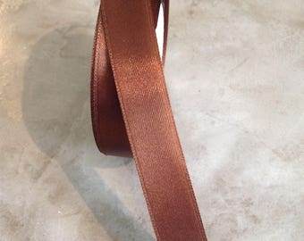 Satin ribbon double sided 20 mm chocolate brown