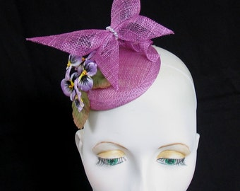 Crocus colour sinamay butterfly and pansy flower fascinator headpiece whimsy hat elastic fixing